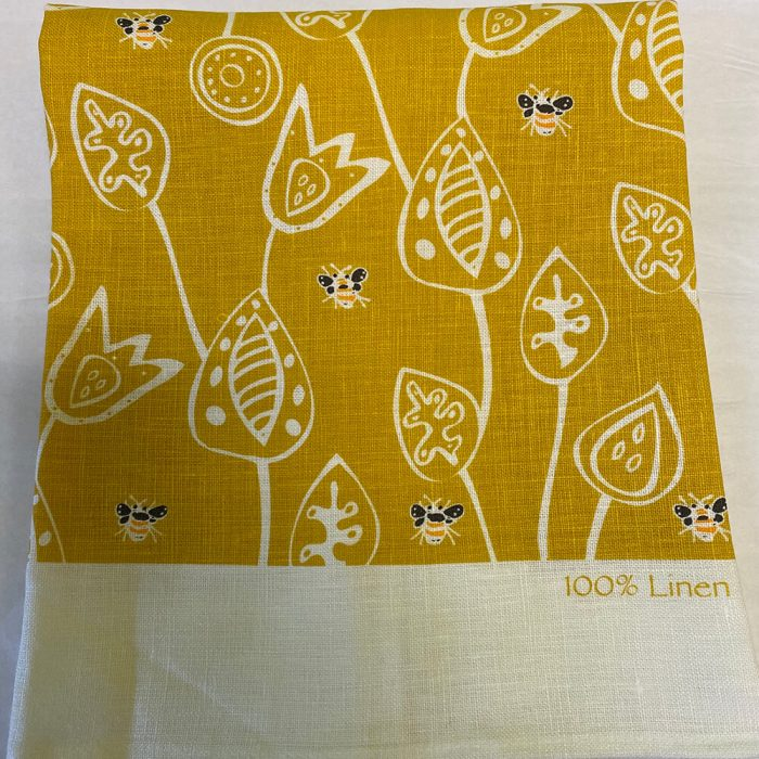 Bees Yellow Tea Towel