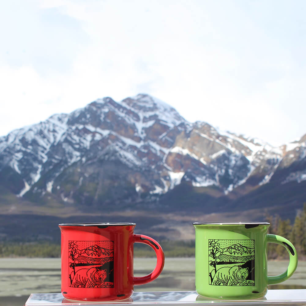 Coffee Mugs with Pyramid Mountain in the Background