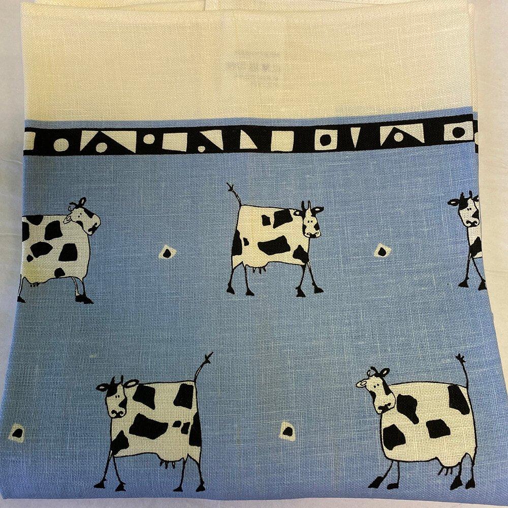 Cow Blue Tea Towel