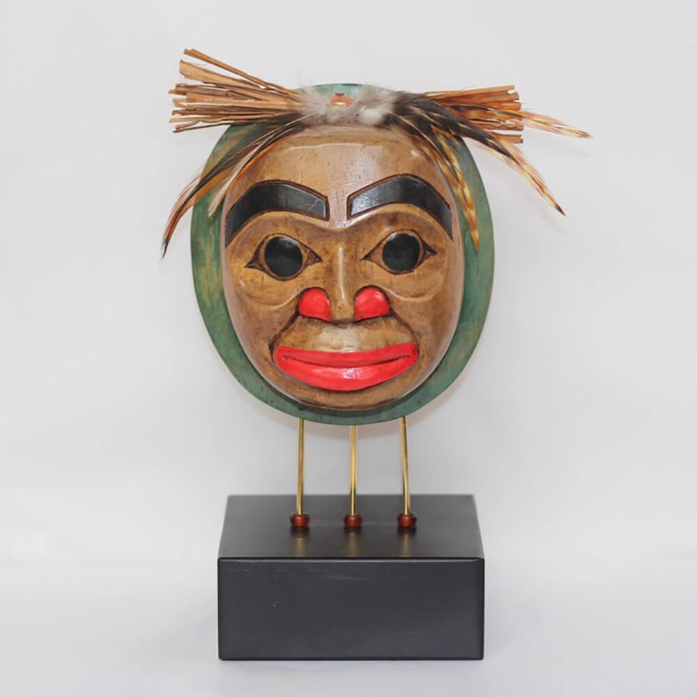 Smiling Moon Mask on Stand